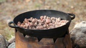 Cozimento da carne no caldeirão fora video estoque