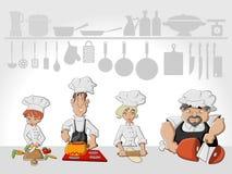 Cozimento da equipe do cozinheiro chefe Imagens de Stock