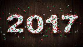 Cozimento do ano novo a pastelaria doce rotula 2017 Imagem de Stock