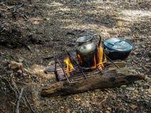 Cozimento do fogo do acampamento Foto de Stock