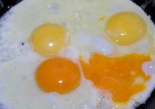 Cozimento dos ovos fritos Os ovos são fritados em uma frigideira Fotografia de Stock Royalty Free