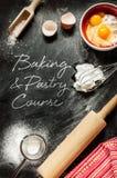 Cozimento e curso da pastelaria - projeto do cartaz Fotografia de Stock