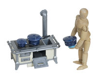 Cozimento no fogão retro com potenciômetros salpicados Imagem de Stock