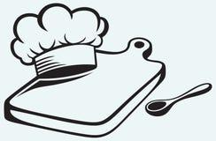 Cozimento. Placa de corte, chapéu do cozinheiro chefe e colher Foto de Stock Royalty Free