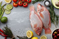 Cozimento vermelho cru dos peixes do tilapia foto de stock royalty free