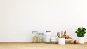 A cozinha ajustou-se com pêssego e planta - rendição 3D Imagens de Stock