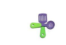 A cozinha ajustou-se para crianças - colheres e forquilhas Fotos de Stock