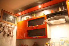Cozinha alaranjada Fotos de Stock
