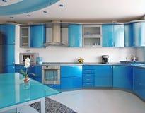 Cozinha azul Foto de Stock Royalty Free