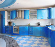 Cozinha azul Imagem de Stock