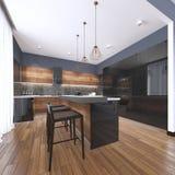 Cozinha bonita interior da casa luxuosa com os armários pretos e de madeira feitos sob encomenda do abanador, ilha coberta de már ilustração stock