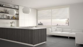 Cozinha branca, cinzenta e de madeira moderna com prateleiras e armários, sofá e janela panorâmico Sala de visitas contemporânea, ilustração royalty free