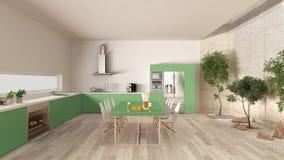 Cozinha branca e verde com jardim interno, desi interior mínimo Imagens de Stock Royalty Free