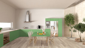 Cozinha branca e verde com jardim interno, desi interior mínimo Fotografia de Stock