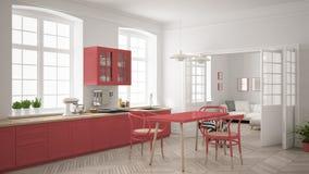 Cozinha branca escandinava minimalista com a sala de visitas nos vagabundos Fotografia de Stock Royalty Free