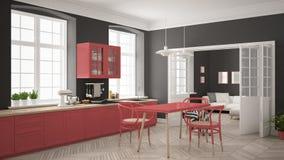 Cozinha branca escandinava minimalista com a sala de visitas nos vagabundos Foto de Stock Royalty Free