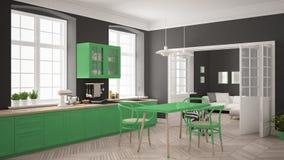 Cozinha branca escandinava minimalista com a sala de visitas nos vagabundos Imagens de Stock