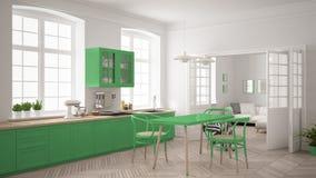 Cozinha branca escandinava minimalista com a sala de visitas nos vagabundos Imagens de Stock Royalty Free