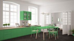 Cozinha branca escandinava minimalista com a sala de visitas nos vagabundos Fotos de Stock Royalty Free