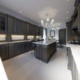 Cozinha clássica, design de interiores mínimo moderno com detalhes de madeira ilustração do vetor