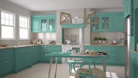 Cozinha clássica escandinava com detalhes de madeira e de turquesa, Fotos de Stock Royalty Free