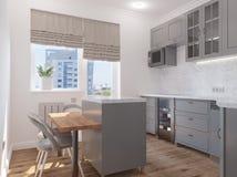 Cozinha clássica moderna com uma ilha ilustração do vetor