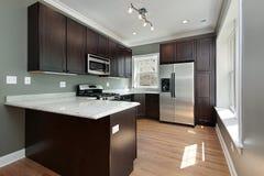 Cozinha com cabinetry de madeira de mogno foto de stock