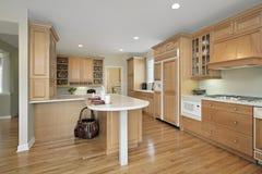Cozinha com cabinetry do carvalho Imagem de Stock