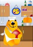 Cozinha com cozimento do cozinheiro chefe do gato Fotos de Stock Royalty Free