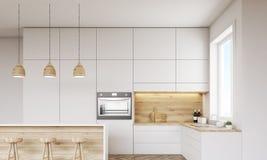 Cozinha com forno e janela ilustração stock