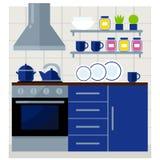 Cozinha com ilustração lisa do vetor da mobília Imagem de Stock Royalty Free