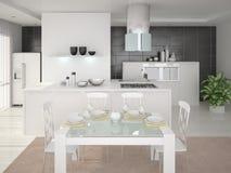 Cozinha com intererom moderno Ilustração Stock