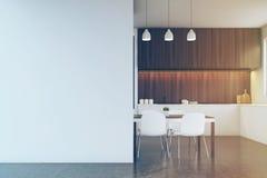 Cozinha com mobília de madeira escura, parede vazia tonificada ilustração stock
