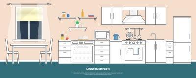 Cozinha com mobília Interior da cozinha com tabela, fogão, armário, pratos e refrigerador Ilustração lisa do vetor do estilo ilustração royalty free
