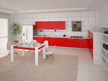 Cozinha com mobília vermelha Ilustração Stock