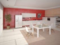 Cozinha com projeto moderno Ilustração Royalty Free
