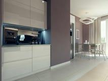 Cozinha com sala de jantar Imagens de Stock Royalty Free
