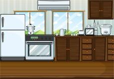 Cozinha completamente com mobília e equipamentos ilustração stock
