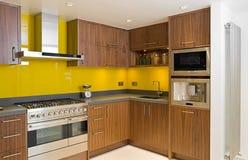 Cozinha contemporânea brandnew da noz Imagens de Stock