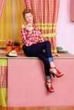 Cozinha cor-de-rosa Imagem de Stock
