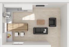 Cozinha 3D interior que rende a vista superior Foto de Stock