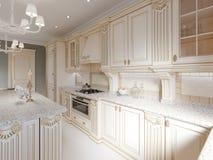 Cozinha de madeira clássica com detalhes de madeira, design de interiores luxuoso bege ilustração royalty free