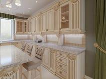 Cozinha de madeira clássica com detalhes de madeira, design de interiores luxuoso bege ilustração stock