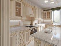 Cozinha de madeira clássica com detalhes de madeira, design de interiores luxuoso bege ilustração do vetor