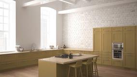 Cozinha de madeira industrial moderna com detalhes de madeira e design de interiores minimalistic panorâmico da janela, o branco  ilustração royalty free