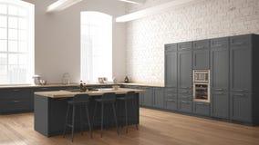 Cozinha de madeira industrial moderna com detalhes de madeira e design de interiores minimalistic panorâmico da janela, o branco  ilustração do vetor
