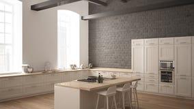 Cozinha de madeira industrial moderna com detalhes de madeira e a janela panorâmico, design de interiores minimalistic branco, do ilustração stock