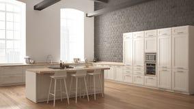 Cozinha de madeira industrial moderna com detalhes de madeira e a janela panorâmico, design de interiores minimalistic branco, pa ilustração do vetor