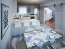 Cozinha de Monimalist com tendência da mesa de jantar Foto de Stock