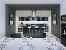 Cozinha denominada contemporânea com uma barra separada da ilha Imagem de Stock Royalty Free